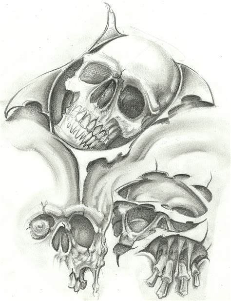 skull tattoo flash designs evil flash design gallery free ideas