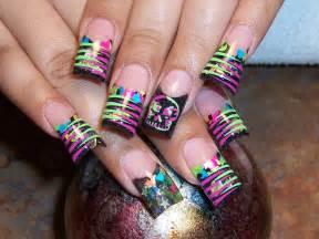pics photos neon color nail art designs idea with