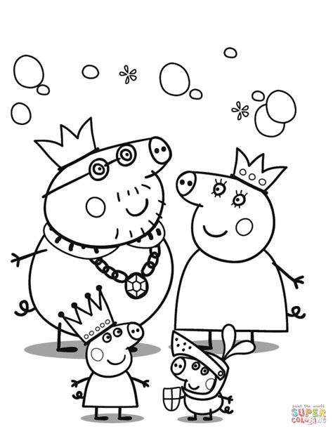 christmas colouring pages peppa pig peppa pig s royal family coloring page free printable