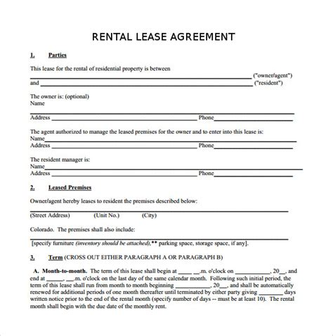 apartment rental agreement template word rental lease agreement 5 free samples examples format