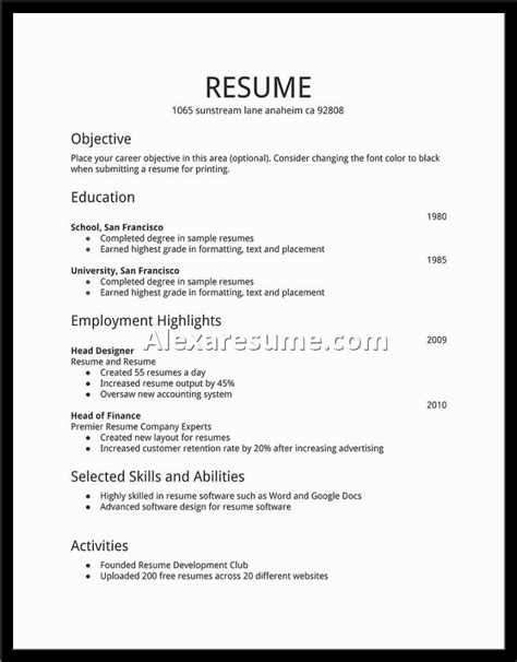 Resume Simple Sle For Any Position Simple Resume For Simple Resume Jennywashere
