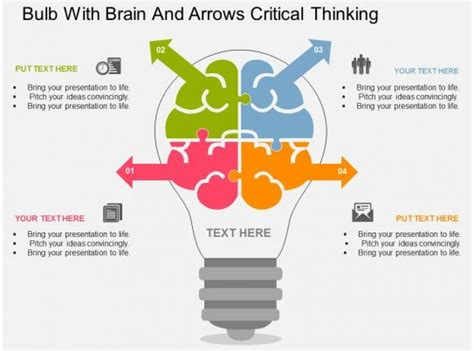 fd bulb  brain  arrows critical thinking flat powerpoint design powerpoint