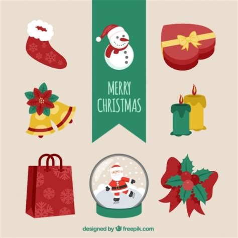 variety of christmas elements vector premium download