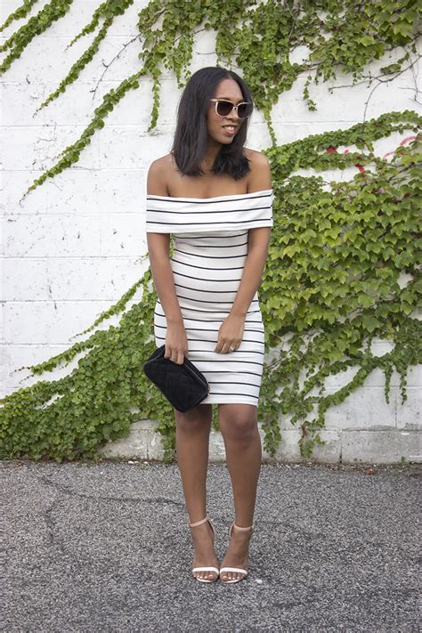 White Stripe Shoulder Dress black and white striped the shoulder dress ivo hoogveld