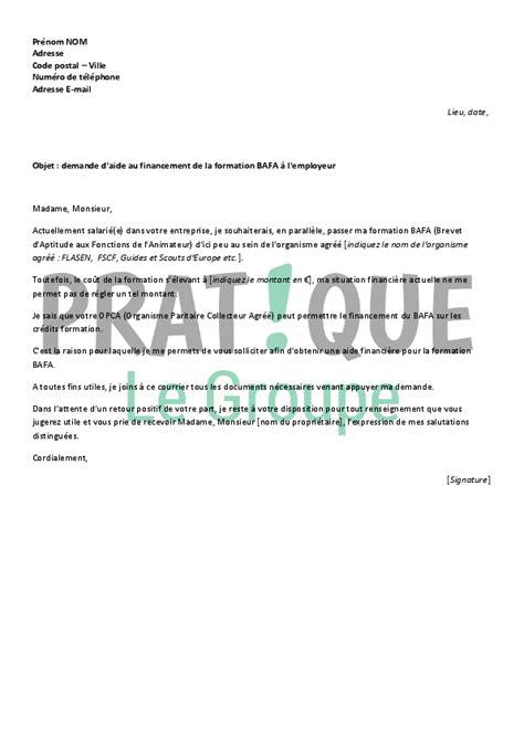 Demande De Financement Lettre Lettre De Demande De Financement Du Bafa 224 Employeur Pratique Fr