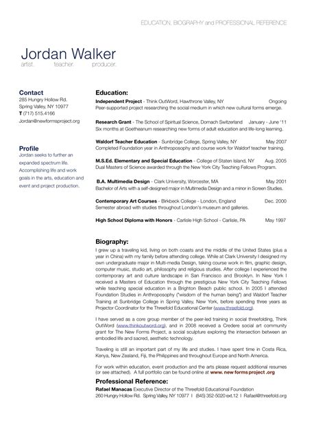 biography exles for cv bio cv resume exle free resume cv exle