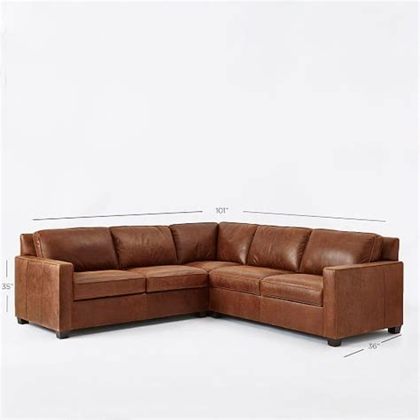 Henry 174 3 Piece L Shaped Sectional Leather West Elm L Shaped Leather Sectional Sofa
