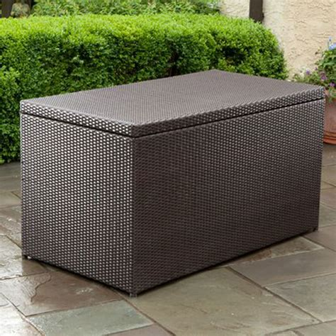 rattan box on granite floor patio minimalist outdoor