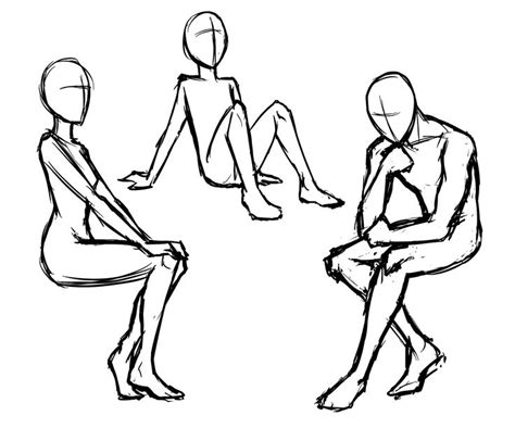 sitting template drawing the basic poses images drawing