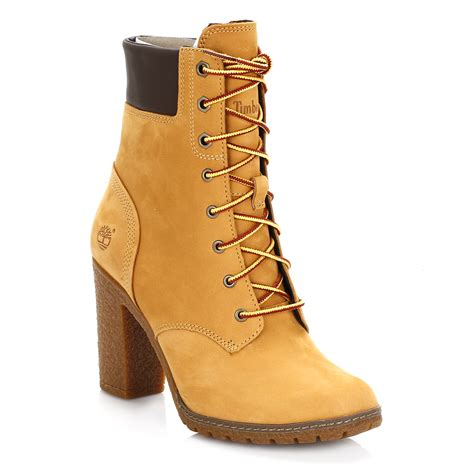 timberland womens ankle boots wheat yellow glancy lace up