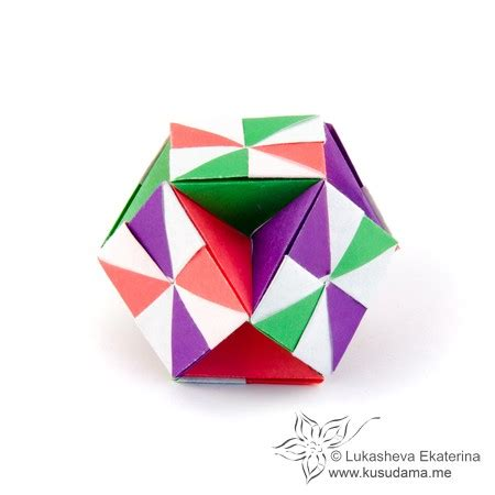 origami cube 6 pieces kusudama me modular origami cuboctahedron unit