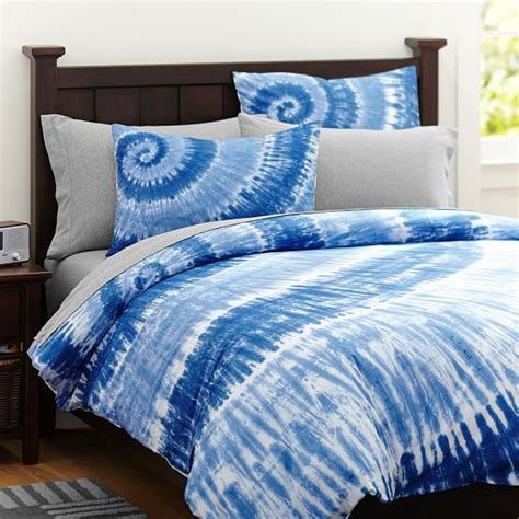 blue tie dye bedding surfers point tie dye duvet cover sham navy multi pbteen