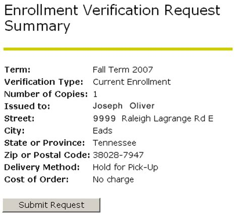 enrollment verification request registrar of