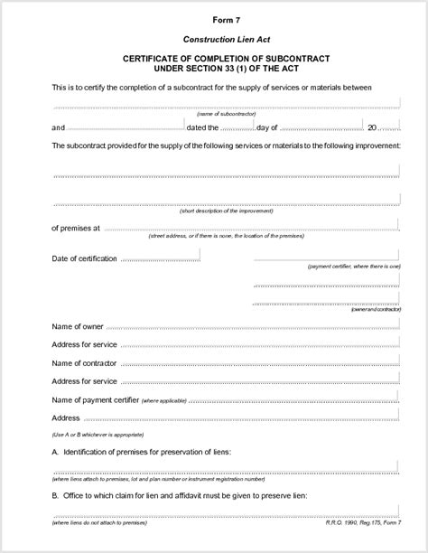 certificate of completion construction templates best photos of construction completion form sle