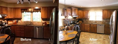 Stained Kitchen Cabinets Before And After Staining Kitchen Cabinets Darker Before And After Pictures 1 Wall Decal