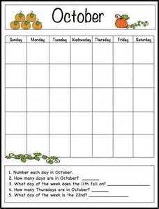 october learning calendar template for kids free