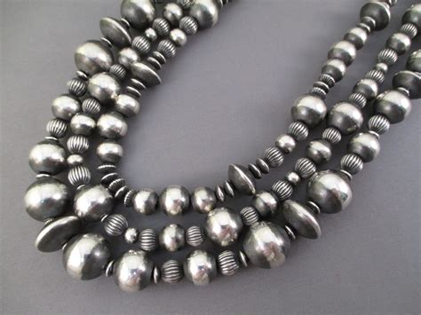 silver bead multi shaped sterling silver bead necklace navajo jewelry