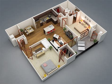 Two Bed Room House | 2 bedroom apartment house plans