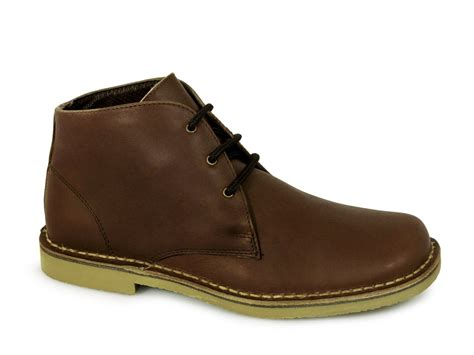 roamers mens waxy leather wide fit desert boots brown