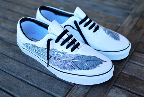 design white vans hand painted native eagle feather on white vans era shoes