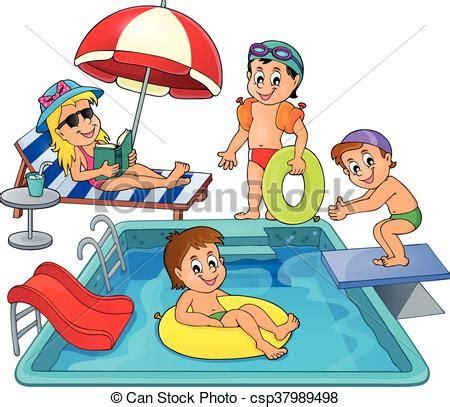 dibujos niños jugando en la piscina tema crian 231 as piscina vetor eps fa 231 a busca em clip art