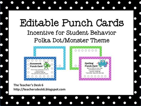homework punch card template the s desk 6 two for tuesday