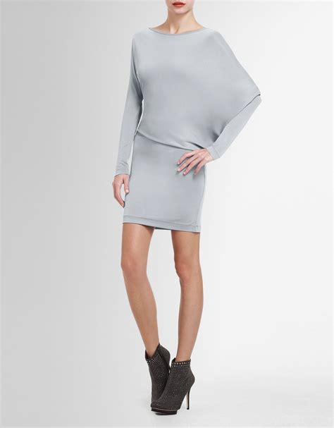 draped tunic bcbgmaxazria laheld side draped tunic in gray haze lyst