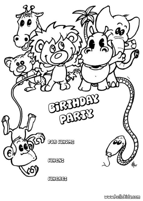 coloring page invitation birthday cards coloring pages animals birthday