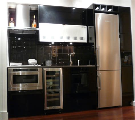 Small Kitchen Black Cabinets Stylish Black And White Themes Small Kitchen Ideas With White Refrigerator Also Black Cabinetry