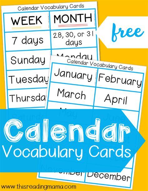 Calendar Vocabulary Calendar Vocabulary Cards