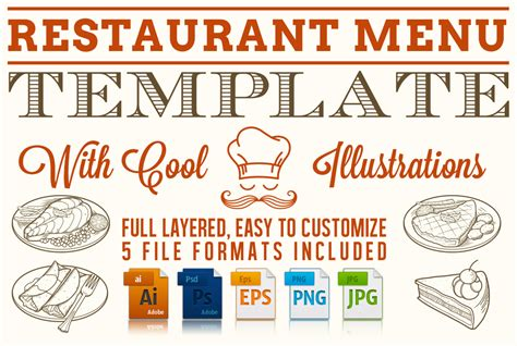editable restaurant menu template stationery templates