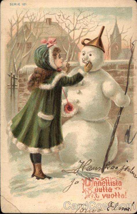 christmas girl  snowman snowmen