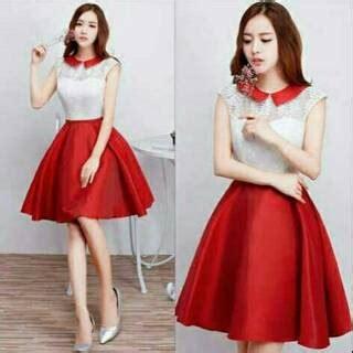 Gaun Casual Merah dress mercure sleting putih merah gaun wanita korea white