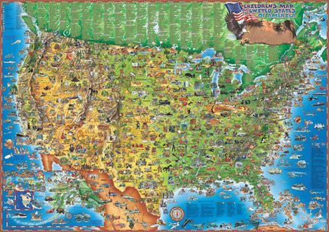 kid map of usa children s illustrated map of the usa from world