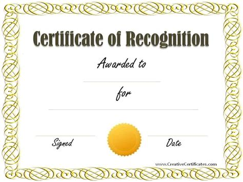 Free Printable Templates For Certificates Of Recognition by Free Certificate Of Recognition Template Customize