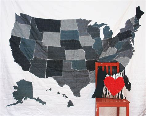 quilt pattern of the united states full sized denim united states map quilt with 13 colonies flag