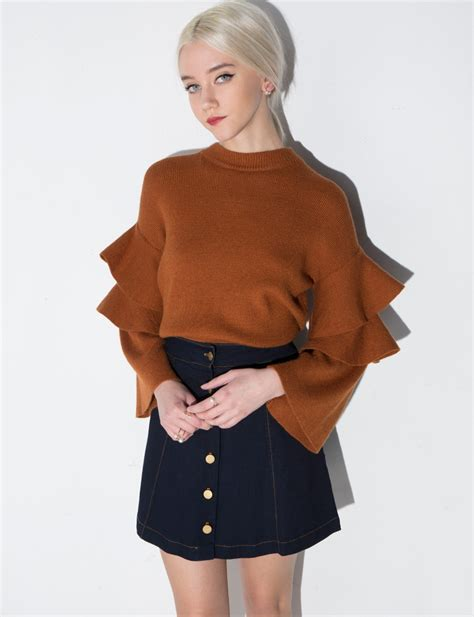 Sleeve Sweater brown ruffled sleeve sweater
