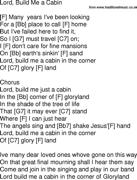 To Build A Home Lyrics by Time Song Lyrics With Guitar Chords For Lord Build Me A Cabin F