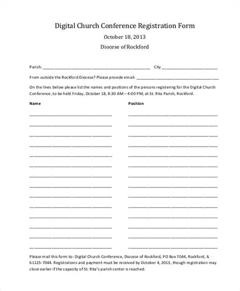 youth conference registration form template registration form templates