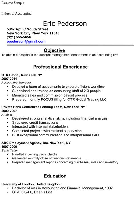 accounting student resume sle for free formxls