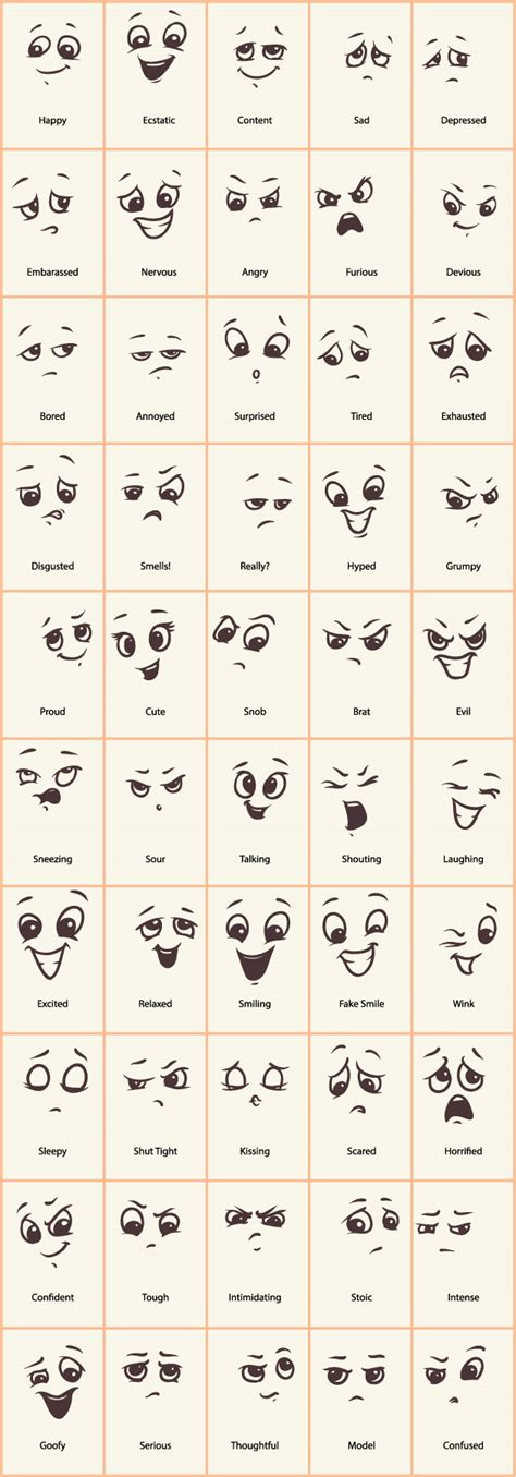 doodle meaning faces expressions vector icons emoticons