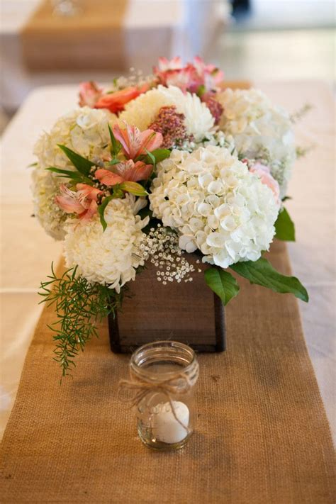 Country Chic Wedding On The Side Wedding And Wood Boxes Flower Centerpieces For Wedding
