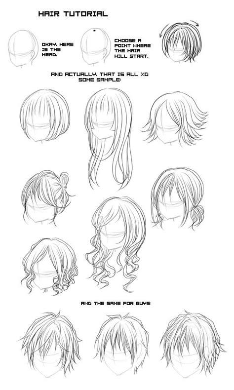 line art hair tutorial all types of anime hair google search 자료 pinterest