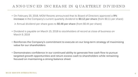mgm resorts international announces board of directors for mgm resorts international 2017 q4 results earnings