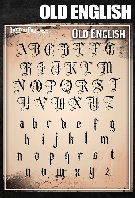 tattoo lettering designer old english pro stencil font atpsf205