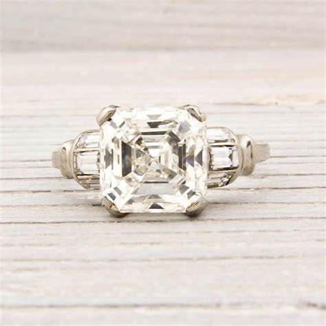 deco asscher cut engagement rings 3 09 carat asscher cut deco engagement ring