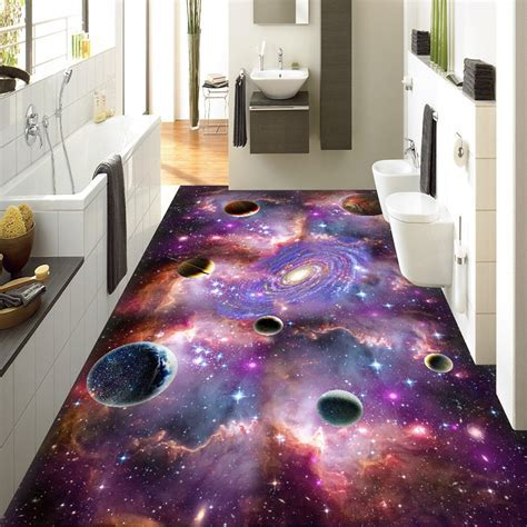 Custom Modern Fantasy 3D Cosmic Sky Galaxy Floor Wallpaper