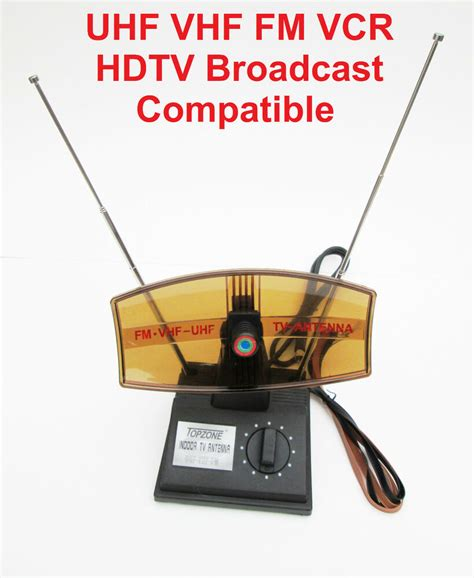rotating indoor tv booster antenna uhf vhf fm vcr hdtv broadcast compatible ebay