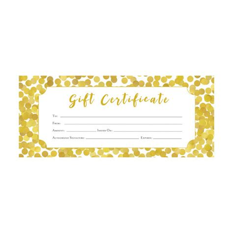 Gold Gift Card Template by Gold Glitter Confetti Gift Certificate Premade