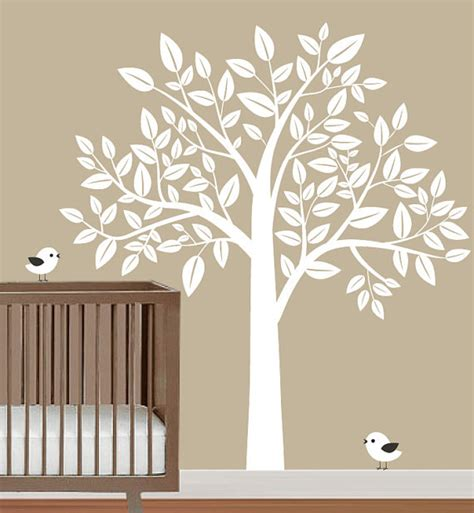 Nursery Big White Tree With Birds Trees Leaf Bird Home Baby Nursery Wall Decals Tree